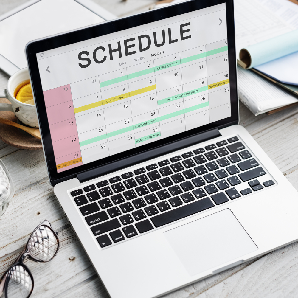 notebook with schedule