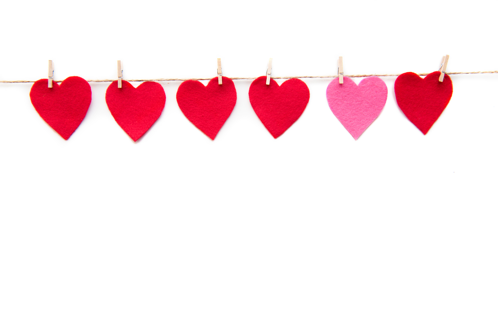 hearts on clips on rope